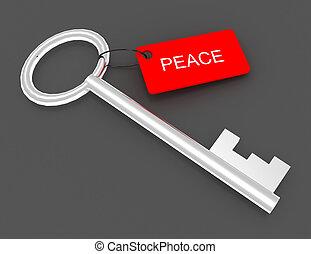 peace., 3d, chiave, illustrazione, etichetta