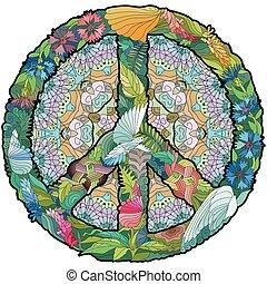 peace., colorito, mano, vettore, stilizzato, disegnato, zentangle, laccio, segno, illustrazione