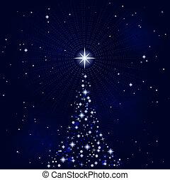 peacefull, notte, albero, natale, stellato