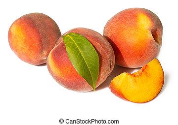 peachs, isolato, fondo, bianco, succoso, maturo