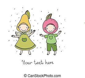 pear., cartone animato, carino, mela