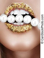 pearls., foglia, bocca, oro