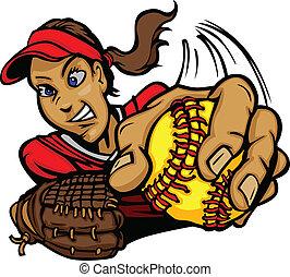 pece, brocca, cartone animato, digiuno, softball