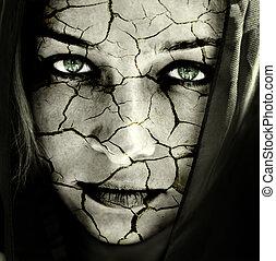pelle, fesso, faccia donna