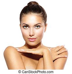 pelle, ragazza, bellezza, macchina fotografica., modello, cura, dall'aspetto, concetto