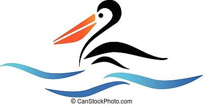 pellicano, vettore, spiaggia, uccello, logotipo