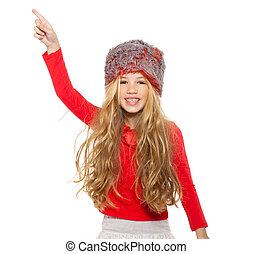 pelliccia, camicia, ballo, ragazza, capretto, cappello, rosso, inverno
