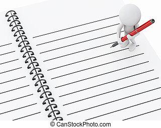 pen., bianco, 3d, blocco note, persone