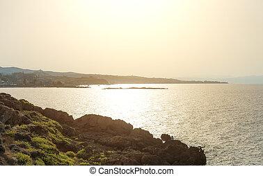 peninsula., tramonto, sopra