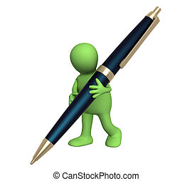 penna, burattino, 3d