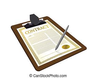 penna, contratto, illustrazione