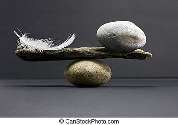 penna, equilibrio, pietra