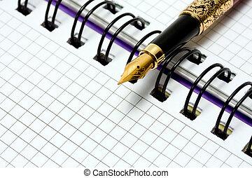 penna, fontana, quaderno