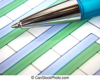 penna, grafico, dettaglio, sbarra
