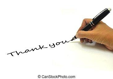 penna, lei, ringraziare, scrittura mano