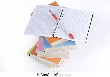 penna, libri, quaderno, fondo, bianco, aperto, pila