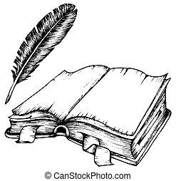 penna, libro, aperto, disegno