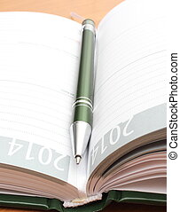 penna, scrivania verde, organizzatore, aperto, dire bugie