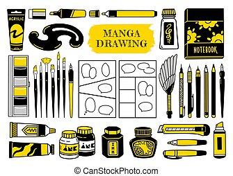 penna, transatlantico, penna, marcatori, inchiostro, spazzola, nero, spazzole, curve., vernice bianca, spazzino, francese