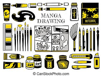 penna, transatlantico, penna, marcatori, inchiostro, spazzola, spazzino, nero, spazzole, vernici, curva, bianco, isograph., francese