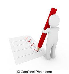 penna, umano, assegno, rosso, 3d