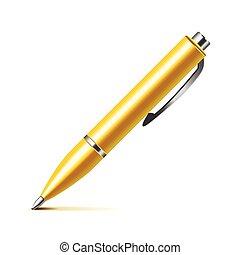 penna, vettore, bianco, isolato
