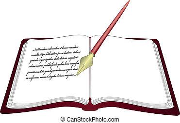 penna, vettore, libro aperto