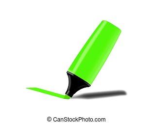 pennarello, fluorescente, verde