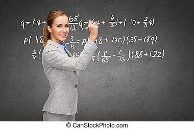 pennarello, formula, scrittura, donna d'affari