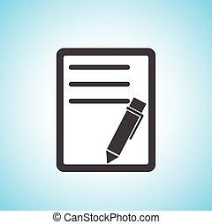 pen/paper, documento, icona