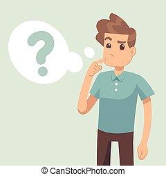 pensare, domanda, illustrazione, marchio, vettore, cartone animato, bolla, pensare, uomo