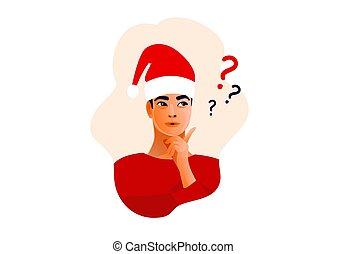 pensare, faccia, idee, man., dubbio, problemi, maschio