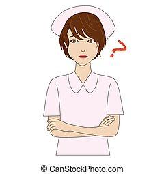 pensare, infermiera, giovane