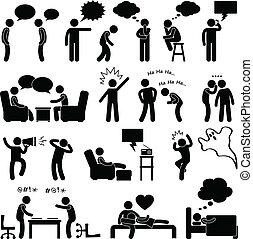 pensare, parlare, uomo, scherzare, persone