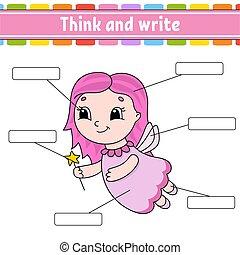 pensare, part., studio, vettore, corpo, style., write., words., attività, educazione, fairy., worksheet., cultura, cartone animato, illustration., english., pagina, isolato, giovane