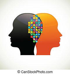 pensare, persone, comunicare, discorso