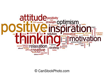 pensare, positivo, parola, nuvola
