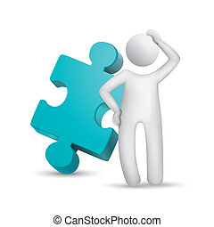 pensare, puzzle, uomo, 3d