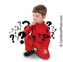 pensare, ragazzo, circa, domanda, giovane