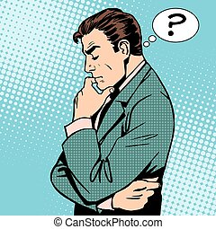 pensare, uomo affari, domande