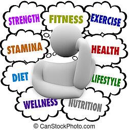 pensare, wellness, dieta, persona, piano, parole, esercizio idoneità