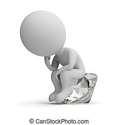pensatore, diamante, -, 3d, persone, piccolo