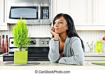 pensieroso, donna, cucina