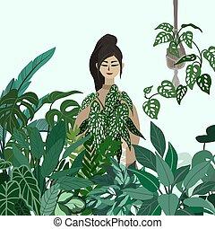 pentola pianta, giovane, presa a terra, signora