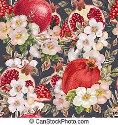 peonies, acquarello, modello, seamless, fiori, pomegranates.