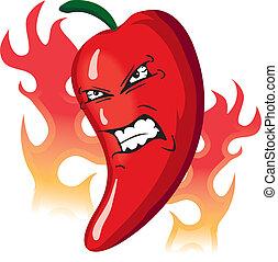 pepe, arrabbiato, caldo