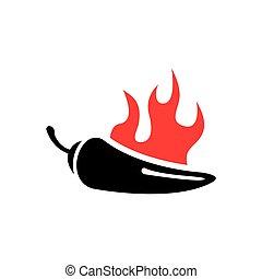 pepe peperoncini rossi, fuoco, vettore, nero rosso, icona