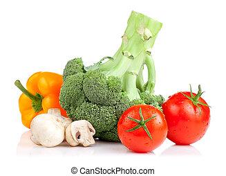 pepe, set, pomodori, isolato, giallo, funghi, vegetables:, fondo, broccolo, bianco