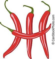 peperoni, chilli, vettore, rosso, illustrazione