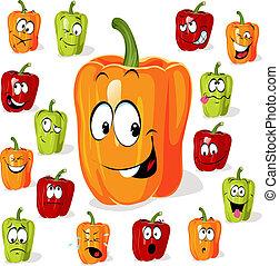 (pepper), cartone animato, colorato, paprica